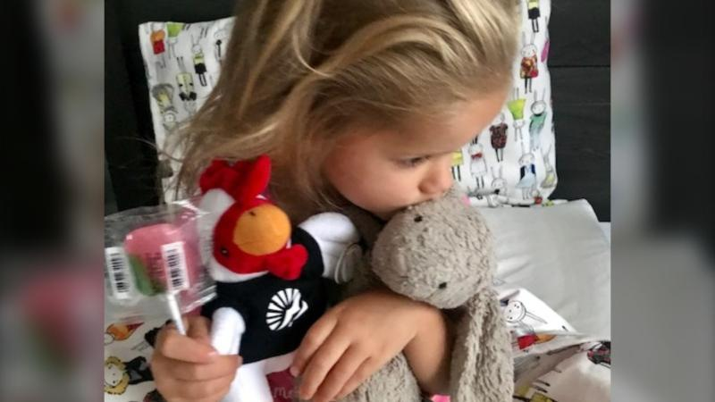 Van Enter told CTV News her daughter has had bunny for her entire life and sleeps with it every night. (Andrea Van Enter/Twitter)