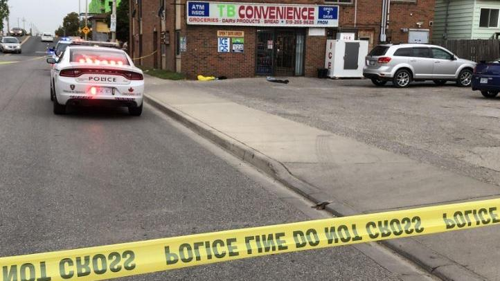 The scene of a possible stabbing on Wyandotte St. W. near Caron Avenue in downtown Windsor on Sunday September 1, 2019 (Photo by AM800's Gord Bacon)