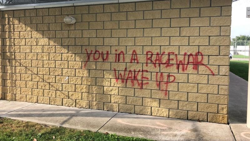 Residents reported graffiti in Lacasse Park on benches and walls of the park facilities in Tecumseh, Ont. (Courtesy Town of Tecumseh)