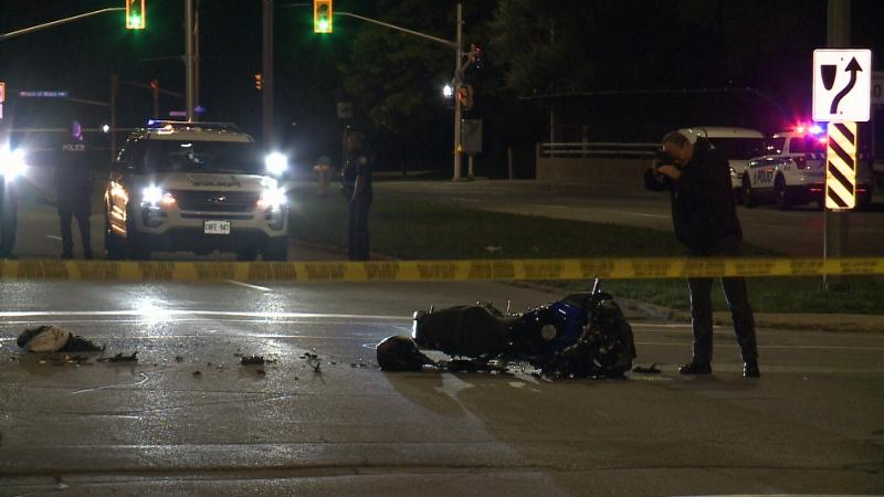 A 20-year-old motorcycle driver was taken to hospital in critical condition after a crash on Carling Ave. Tuesday night with a Civic Hospital shuttle bus.