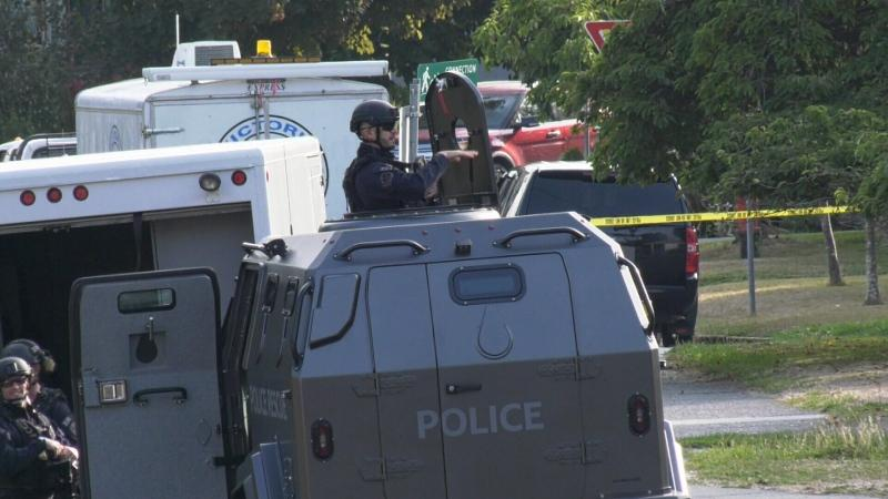 An armoured vehicle arrives on scene Wednesday. (CTV Vancouver Island)