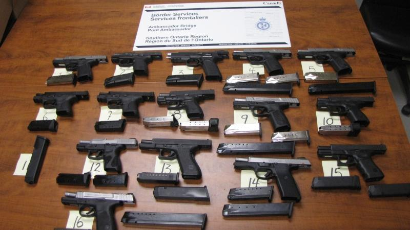 Guns seized from three vehicles at Windsor border crossing