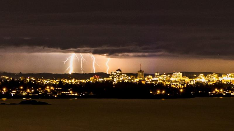 Victoria-based photographer Doug Clement captured several shots of lightning over the city Saturday night. (Doug Clement)