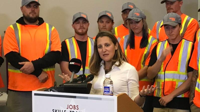 Foreign affairs minister Chrystia Freeland speaks during a visit to Windsor on Monday, Sept. 9, 2019. (Michelle Maluske / CTV Windsor)