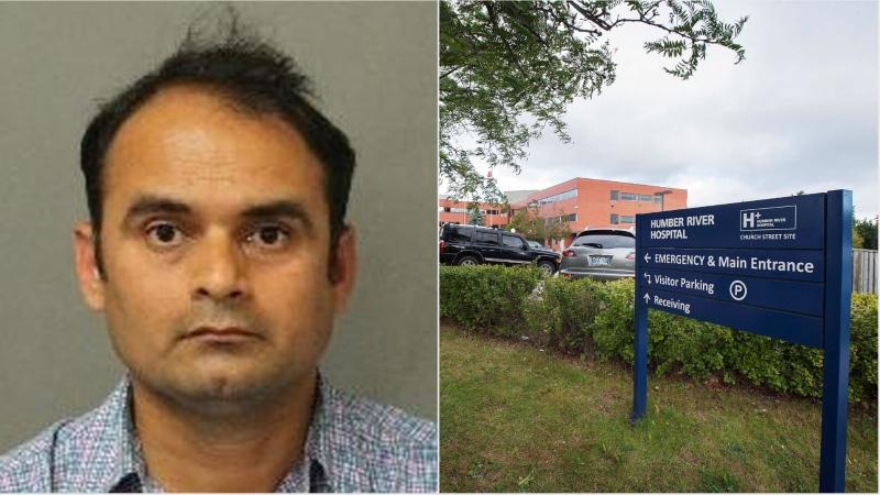 Dhavalkumar Desai, 43, of Brampton is seen here beside this file photo of the Humber River Hospital. (Police handout/THE CANADIAN PRESS/Aaron Vincent Elkaim)