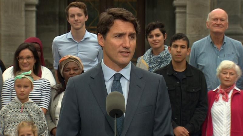 Liberal Leader Justin Trudeau speaks to the media on Sept. 11, 2019.